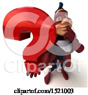 Clipart Of A 3d Buff White Male Maroon Hero Holding A Question Mark On A White Background Royalty Free Illustration by Julos