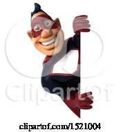 Clipart Of A 3d Buff White Male Maroon Hero Looking Around A Sign On A White Background Royalty Free Illustration by Julos