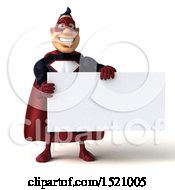 Clipart Of A 3d Buff White Male Maroon Hero Holding A Sign On A White Background Royalty Free Illustration by Julos
