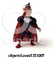 Clipart Of A 3d Buff White Male Maroon Hero Holding A Magnifying Glass On A White Background Royalty Free Illustration by Julos