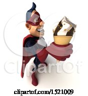 Clipart Of A 3d Buff White Male Maroon Hero Holding A Waffle Cone On A White Background Royalty Free Illustration by Julos