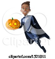 Clipart Of A 3d Young Female Black Super Hero In A Dark Blue Suit Holding A Jackolantern On A White Background Royalty Free Illustration
