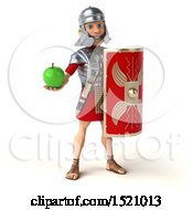 Poster, Art Print Of 3d Young Male Roman Legionary Soldier Holding An Apple On A White Background