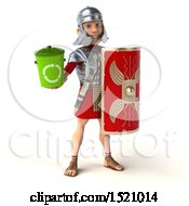 Poster, Art Print Of 3d Young Male Roman Legionary Soldier Holding A Recycle Bin On A White Background
