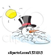 Clipart Of A Sun Over A Melting Snowman Royalty Free Vector Illustration