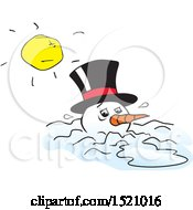 Clipart Of A Mean Sun Over A Melting Snowman Royalty Free Vector Illustration