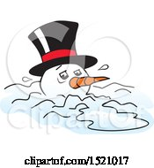 Clipart Of A Melting Snowman Royalty Free Vector Illustration by Johnny Sajem