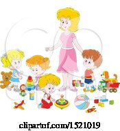 Clipart Of A Caucasian Mom Or Daycare Provider Supervising Playing Children Royalty Free Vector Illustration by Alex Bannykh