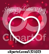 Happy Valentines Day Greeting And White Heart Over Pink And Flares