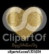 Clipart Of A Happy Valentines Day Greeting And Gold Glitter Heart On Black Royalty Free Vector Illustration
