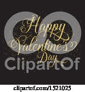 Happy Valentines Day Greeting In Gold Glitter On Black