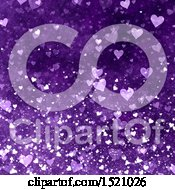Clipart Of A Purple Valentines Day Heart Background Royalty Free Illustration