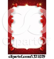 Clipart Of A Valentines Day Border With Hearts On Red Royalty Free Vector Illustration by KJ Pargeter