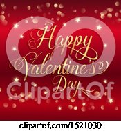 Poster, Art Print Of Happy Valentines Day Greeting In Gold Over Red With Stars And Flares