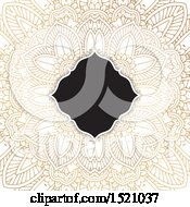 Clipart Of A Frame Over A Golden Mandala Background Royalty Free Vector Illustration