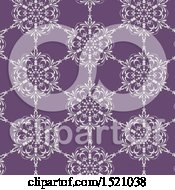 Clipart Of A Seamless White And Purple Floral Pattern Background Royalty Free Vector Illustration