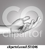 Clipart Of A 3d Female Hand In Grayscale Royalty Free Illustration