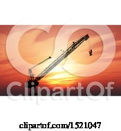 Clipart Of A 3d Silhouetted Construction Crane Against A Sunset Sky Royalty Free Illustration
