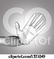 Clipart Of A 3d Human Hand Gesturing Stop In Grayscale Royalty Free Illustration