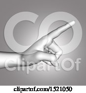 Clipart Of A 3d Human Hand Pointing In Grayscale Royalty Free Illustration