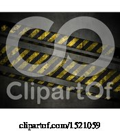 Clipart Of A 3d Metal Background With Warning Stripes Royalty Free Illustration