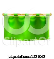 Green Banner Suspended From A Golden Pole