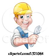 Poster, Art Print Of Cartoon Happy White Male Plumber Wearing A Hard Hat And Holding An Adjustable Wrench Around A Sign