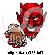 Clipart Of A Grinning Evil Red Devil Holding Out A Football In A Clawed Hand Royalty Free Vector Illustration