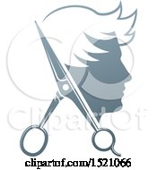 Clipart Of A Male Head In Profile With Scissors Royalty Free Vector Illustration