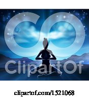 Clipart Of A Silhouetted Woman Doing Yoga Against A Mountainous Sunrise Royalty Free Vector Illustration