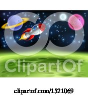 Clipart Of A Background Of A Rocket And Planets Royalty Free Vector Illustration by AtStockIllustration