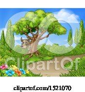 Clipart Of A Wolf Hiding Behind A Tree Near A Path Royalty Free Vector Illustration by AtStockIllustration