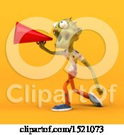 Clipart Of A 3d Zombie Using A Megaphone On A Yellow Background Royalty Free Illustration