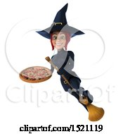 Clipart Of A 3d Sexy Blue Witch Holding A Pizza On A White Background Royalty Free Illustration by Julos