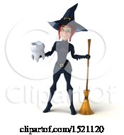 Clipart Of A 3d Sexy Blue Witch Holding A Tooth On A White Background Royalty Free Illustration by Julos
