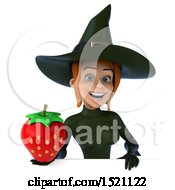 Clipart Of A 3d Sexy Green Witch Holding A Strawberry On A White Background Royalty Free Illustration by Julos