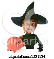 Clipart Of A 3d Sexy Green Witch Holding A Piggy Bank On A White Background Royalty Free Illustration by Julos