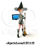 Clipart Of A 3d Sexy Green Witch Holding A Tablet On A White Background Royalty Free Illustration by Julos
