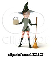 Clipart Of A 3d Sexy Green Witch Holding A Padlock On A White Background Royalty Free Illustration by Julos