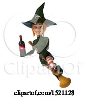 Clipart Of A 3d Sexy Green Witch Holding A Wine Bottle On A White Background Royalty Free Illustration by Julos