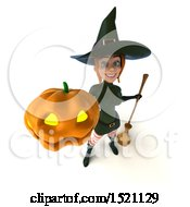 Clipart Of A 3d Sexy Green Witch Holding A Jackolantern On A White Background Royalty Free Illustration