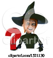 Clipart Of A 3d Sexy Green Witch Holding A Question Mark On A White Background Royalty Free Illustration by Julos