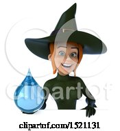 Clipart Of A 3d Sexy Green Witch Holding A Water Drop On A White Background Royalty Free Illustration by Julos