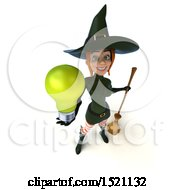 Clipart Of A 3d Sexy Green Witch Holding A Light Bulb On A White Background Royalty Free Illustration