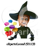 Clipart Of A 3d Sexy Green Witch Holding Messages On A White Background Royalty Free Illustration