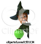 Clipart Of A 3d Sexy Green Witch Holding An Apple On A White Background Royalty Free Illustration