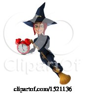 Clipart Of A 3d Sexy Blue Witch Holding An Alarm Clock On A White Background Royalty Free Illustration by Julos