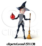 Clipart Of A 3d Sexy Blue Witch Holding A Blood Drop On A White Background Royalty Free Illustration by Julos