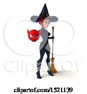 Clipart Of A 3d Sexy Blue Witch Holding A Devil On A White Background Royalty Free Illustration by Julos