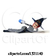 Clipart Of A 3d Sexy Blue Witch Holding A Pill On A White Background Royalty Free Illustration by Julos